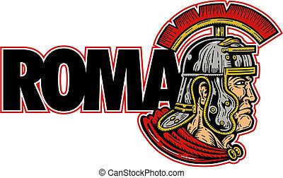 roman warrior with helmet