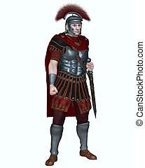 Centurion of the Imperial Roman legionary army wearing a transverse crested helmet and carrying a gladius or short sword, 3d digitally rendered illustration
