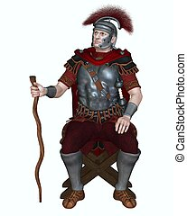 Centurion of the Imperial Roman legionary army wearing a transverse crested helmet and sitting on a folding camp stool holding his vine staff as badge of office, 3d digitally rendered illustration