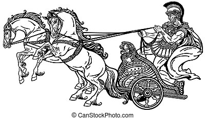 roman chariot black and white - roman warrior in a chariot...