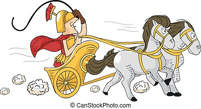 Roman Chariot - Illustration Featuring a Roman Man Driving a...