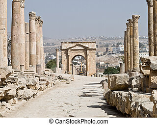 Roman city in Jerash - Main street cardo in Roman city....
