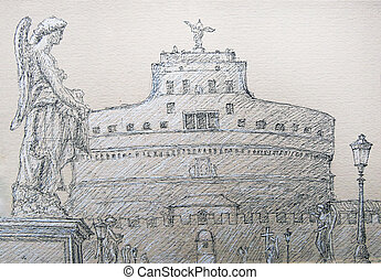 Roman cityscape of the Castel Sant Angelo and Sant Angelo Bridge painted by ink