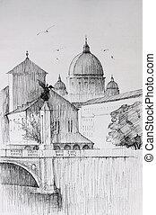Roman cityscape of the Vatican City