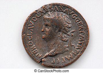 Roman Coin - Roman coin depicting Sestertius of Nero showing...
