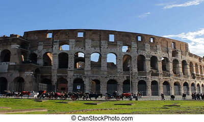 Roman Coliseum Long Shot Pan - Famous Italian amphiteater...