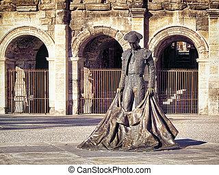 Roman Coliseum - Nimes, France - Roman Coliseum with a...