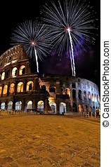 Roman coliseum. - Roman coliseum with fireworks