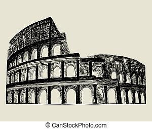 Roman coliseum. Vector sketch illustration for design use.