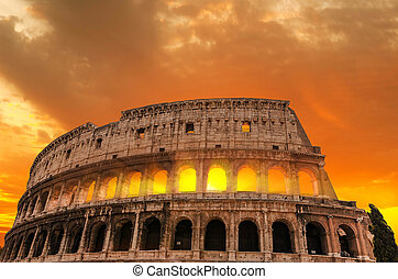 Roman Colosseum at sunset.