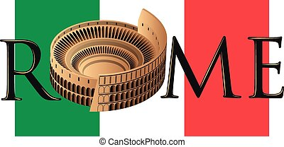 rome - roman colosseum over flag of italy and text of rome