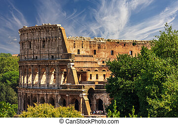 Roman Colosseum, view from the Forum on the Capitoline Hill...