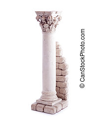 Roman column bookend isolated in a white backgroun