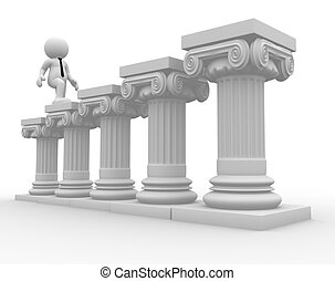 Roman column - 3d people - human character, person and roman...