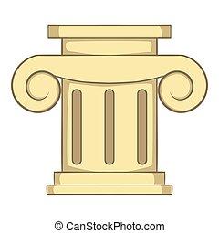 Roman column icon, cartoon style