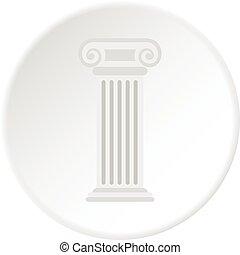 Roman column icon circle