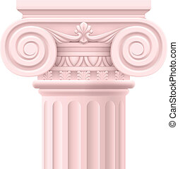 Roman column - Pink Roman column. Illustration on white...
