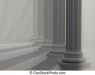 Roman Columns 1 - Conceptual five roman columns, rays effect...