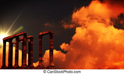 Roman columns at sunset