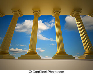 Roman columns - Low angle of golden roman columns - 3d...