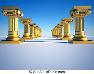 Roman columns - Golden roman columns on clear blue sky - 3d...