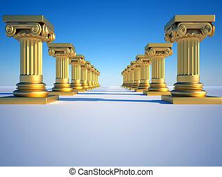 Golden roman columns on clear blue sky - 3d render