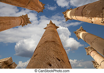Roman Columns in in the Jordanian city of Jerash (Gerasa of Antiquity), capital and largest city of Jerash Governorate, Jordan