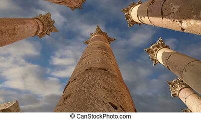 Roman Columns in the Jordanian city of Jerash (Gerasa of...