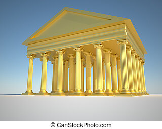 Roman columns - Low angle of golden roman building - 3d...