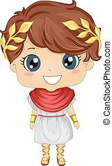 Illustration Featuring a Boy Wearing a Roman Costume