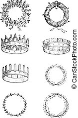 Roman Crowns, vintage engraving. Old engraved illustration...