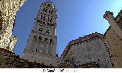 Saint Domnius Cathedral Bell Tower in the Roman Diocletian's Palace, a historical landmark in Split, Croatia.