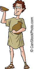 Roman drunkard on a white background vector illustration
