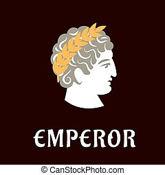 Roman emperor Julius Caesar in wreath - Roman emperor Julius...