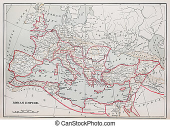 Roman Empire map - historic Roman Empire Map from 1894 book