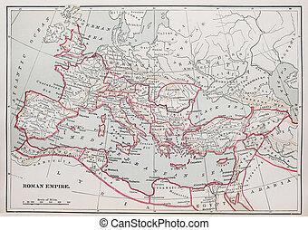 Roman Empire map - historic Roman Empire Map from 1894 book
