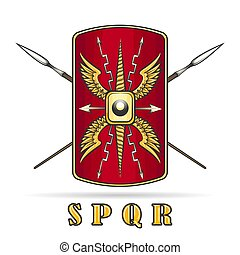 Roman Empire Shield and Crossed Spears