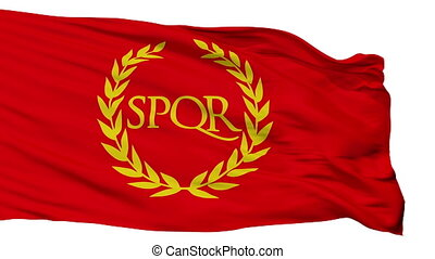 Roman Empire Spqr Flag, Isolated On White Seamless Loop -...