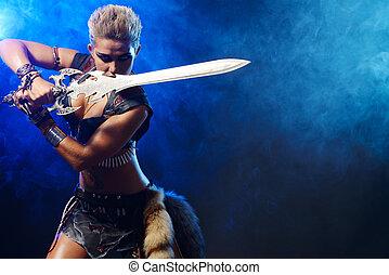 roman fighter - Portrait of a beautiful female warrior in...