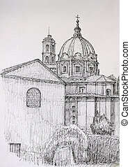 Roman Forum cityscape painted by ink