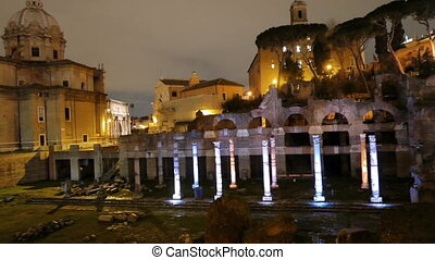 Roman Forum. Night. Rome, Italy