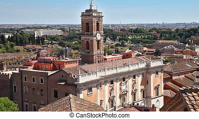 Roman Forum of Rome - panoramic close up aerial view of the...