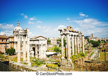 Roman Forum - Ancient ruins in Roman Forum, Rome, Italy