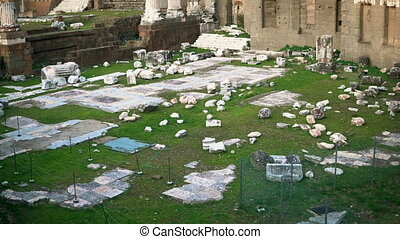 Roman Forum surrounded by ruins of several ancient government buildings at the center of the city of Rome, Italy.