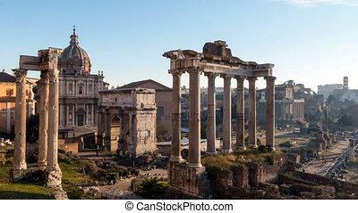 Roman Forum. Vast excavated area of Roman temples. timelapse...