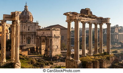 Roman Forum. Vast excavated area of Roman temples. timelapse...