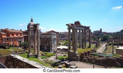 Roman Forum view - Roman Forum wide view footage for your...