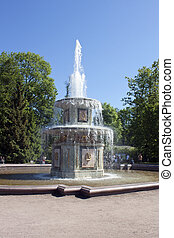 Roman Fountain in Peterhof Petrodvorets St Petersburg,...