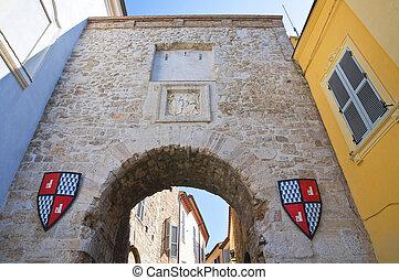 Roman gate. San Gemini. Umbria. Italy.