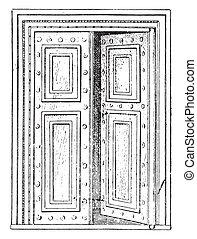 Roman Gate, vintage engraving. - Roman Gate, vintage ...